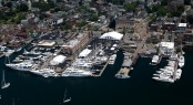 Aerial view of the Newport Yachting Center during the 2012 Newport Charter Yacht Show (Photo Credit Billy Black)