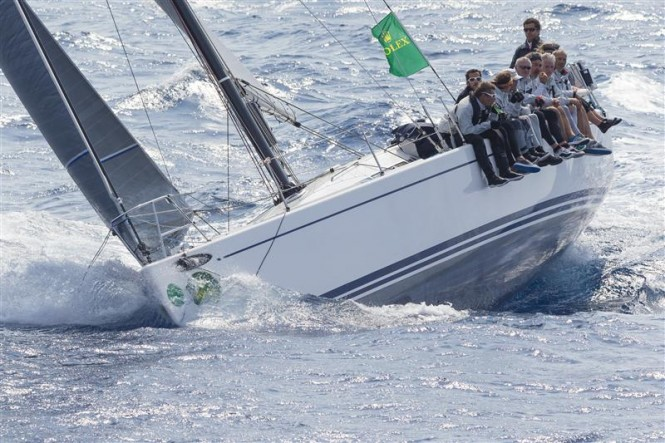 Bernard Vananty's Swan 42 Yacht TIXWAVE on her way to an overall win in the 2014 Giraglia Rolex Cup - Photo by Rolex Carlo Borlenghi