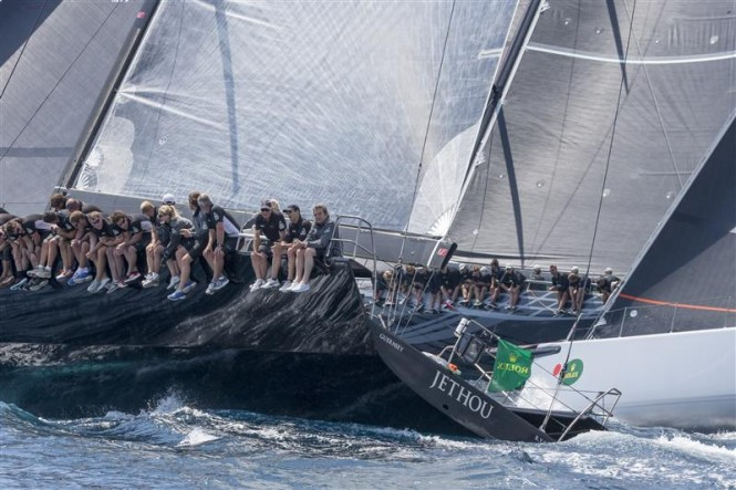 Close Mini Maxi battle between JETHOU (GBR), ALEGRE (GBR) and RÁN 5 (SWE) - Photo by Rolex Carlo Borlenghi