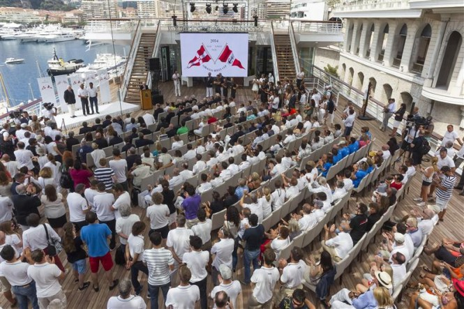Final prize giving of the Giraglia Rolex Cup 2014 at the new Yacht Club de Monaco clubhouse - Photo by Rolex Carlo Borlenghi