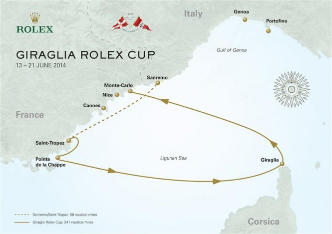 Giraglia Rolex Cup 2014 offshore race course map