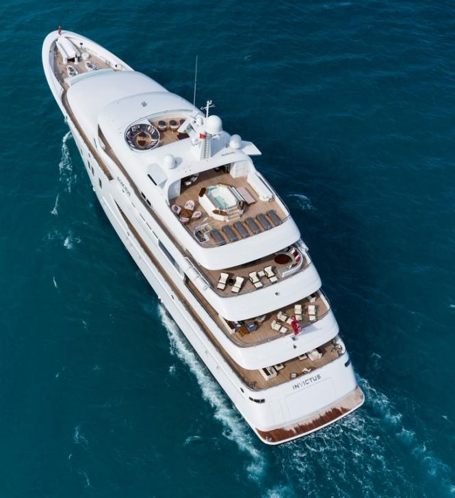INVICTUS superyacht - aft view - decks - Photo by Jeff Brown