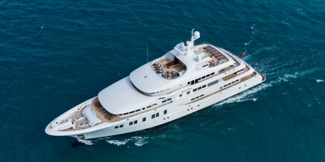 Luxury motor yacht INVICTUS from above - Photo by Jeff Brown