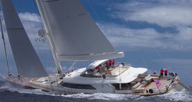 Luxury sailing yacht Clan VIII competing in the St Barth Bucket 2014