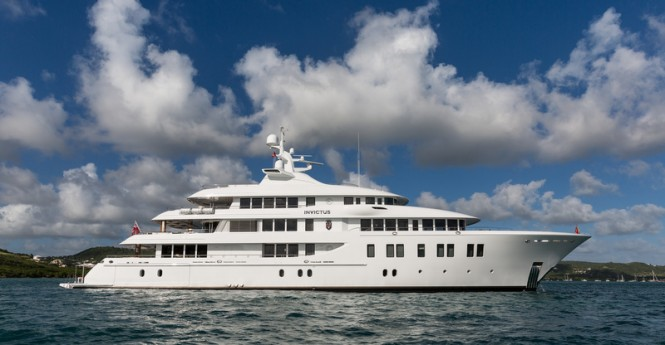 Luxury superyacht INVICTUS - side view - Photo by Jeff Brown
