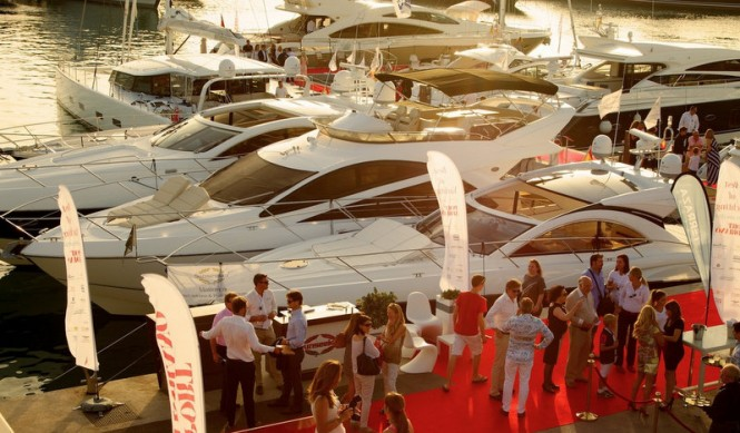 Luxury yachts by Sunseeker on display at 'Best of Yachting' event