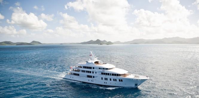 Mega yacht INVICTUS underway - Photo by Jeff Brown