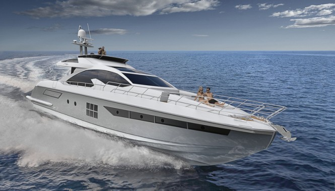 Motor yacht Azimut 77S at full speed