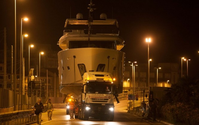 Night transport of YOLO Yacht