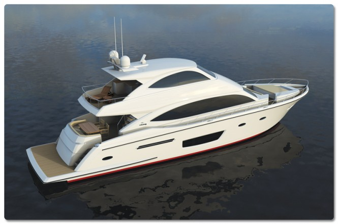 Rendering of luxury motor yacht Viking 75 - Image courtesy of Viking Yachts