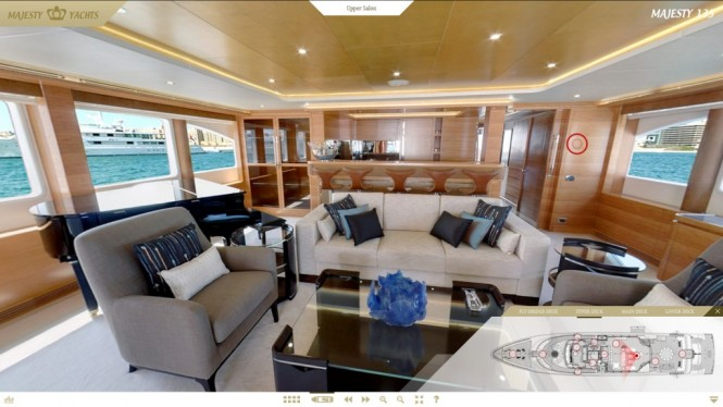 Screen shot of luxury yacht Majesty 135 Entertainment Room