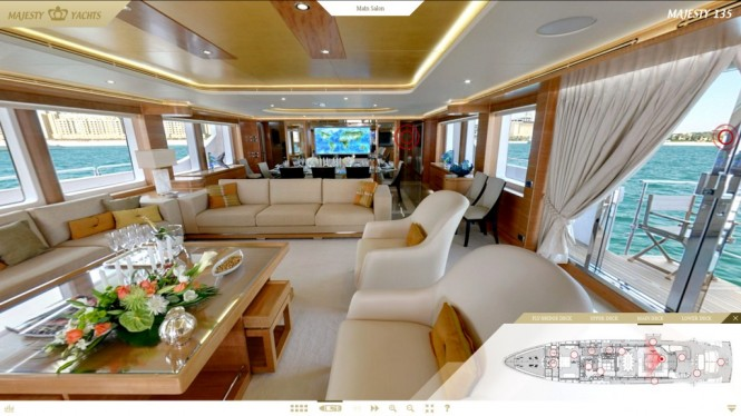 Screen shot of the Majesty 135 Yacht Main Saloon