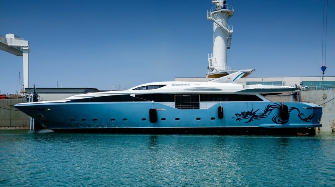 Super yacht Flying Dragon on the water