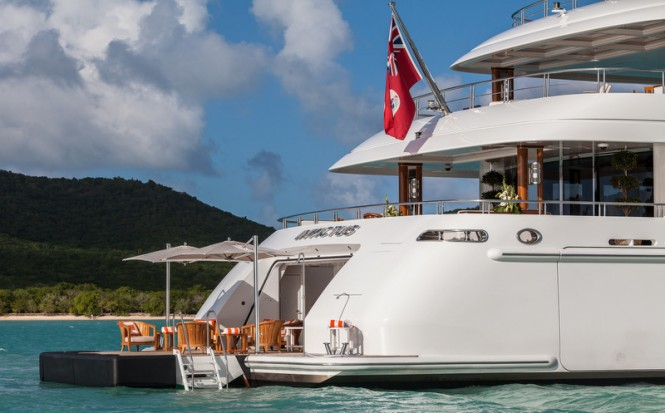 Super yacht INVICTUS - aft view - Photo by Jeff Brown