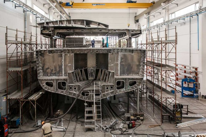 Superyacht Wider 150' under construction at Wider Yachts in Ancona, Italy