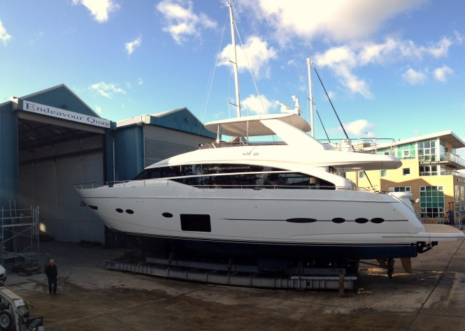 The Princess 88 Yacht at Endeavour Quay before re-spray