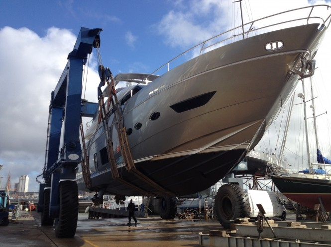 The Princess 88 superyacht ready for launch in the hoist