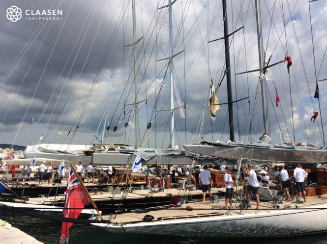 The five J Class yacht line up ready to race at The Superyacht Cup Palma 2014
