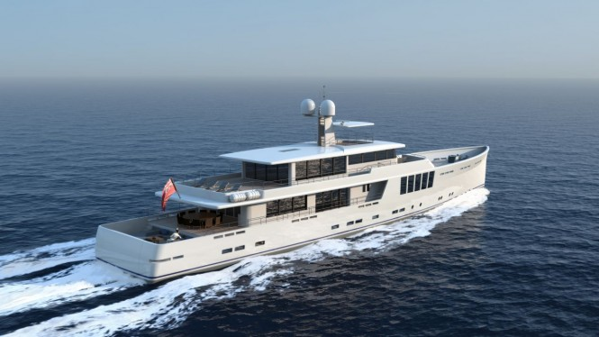 164' JFA explorer yacht project - aft view