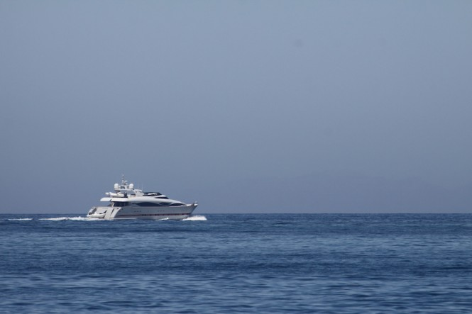 Charter Yacht GLAROS leaving the island of Paros in Greece - Photo taken by Robert van der Most