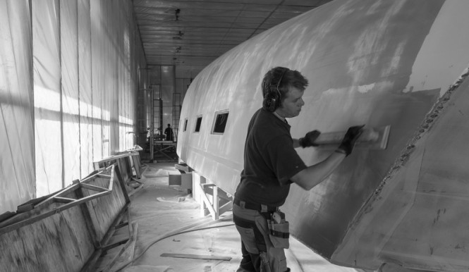 Hull of Nautor's Swan superyacht Swan 115-001 under construction at Oy Nautor Ab in Finland - Photo credit Nautor's Swan/Carlo Borlenghi