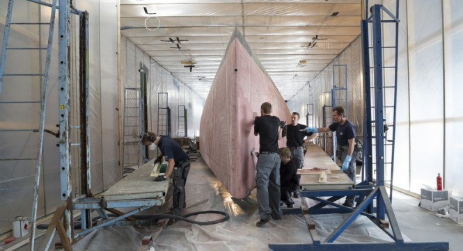 Hull of luxury yacht Swan 115-001 in build