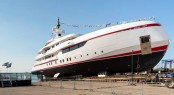 ISA superyacht Forever One at launch - Image credit to ISA Yachts