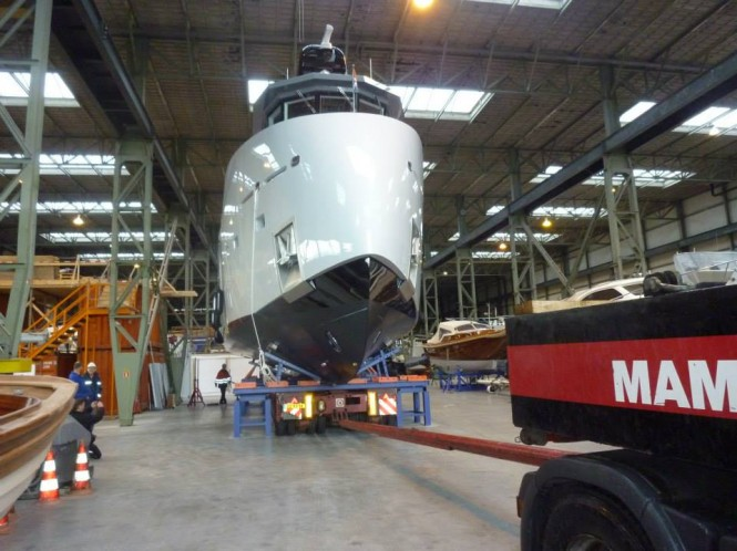 Launch of 24m support yacht YXT One by Lynx Yachts and Diana Yacht Design