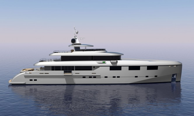 Luxury motor yacht Heysea 50M - side view
