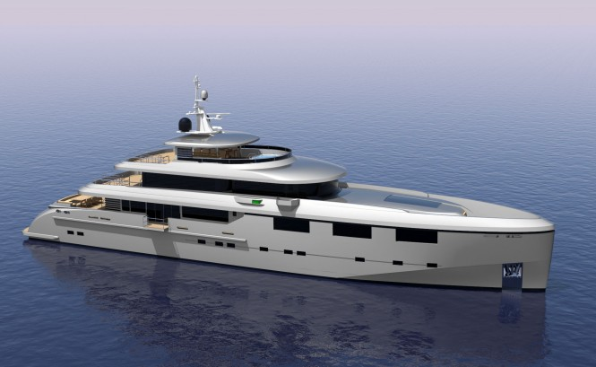 Luxury yacht Heysea 50M from above