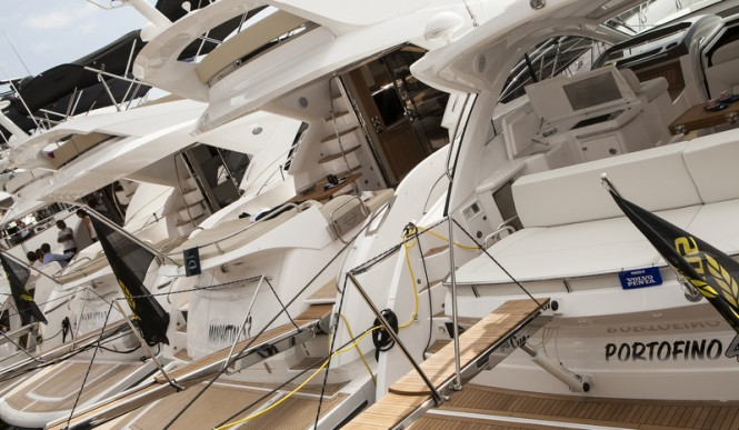Luxury yachts on display at the Barcelona Boat Show