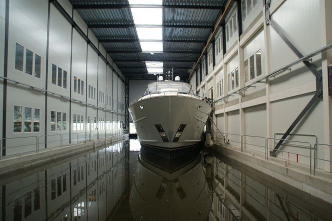 Mulder 98 Flybrige Yacht YN 1391 ready to leave her shed at Mulder Shipyard
