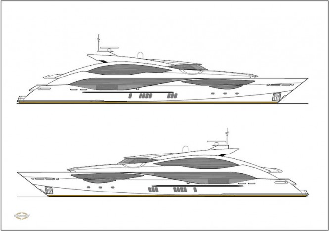 New 51m super yacht '168 Sport Yacht' by Sunseeker - Layout