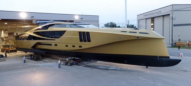 New Palmer Johnson 48M SuperSport Yacht leaving her shed