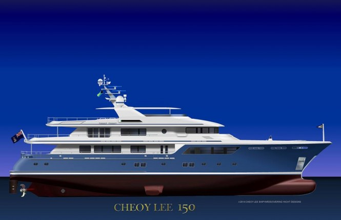 New superyacht CHEOY LEE 150 design - Image credit to 2014 Cheoy Lee Shipyards Overing Yacht Designs