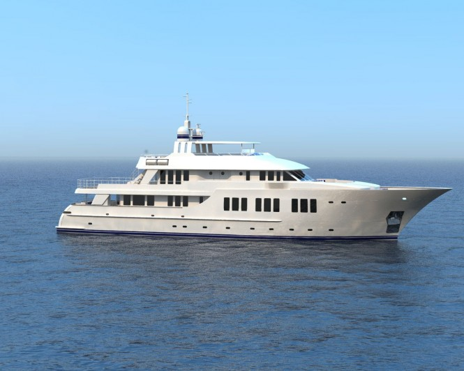 Rendering of 135ft superyacht designed by Overing under construction at JFA