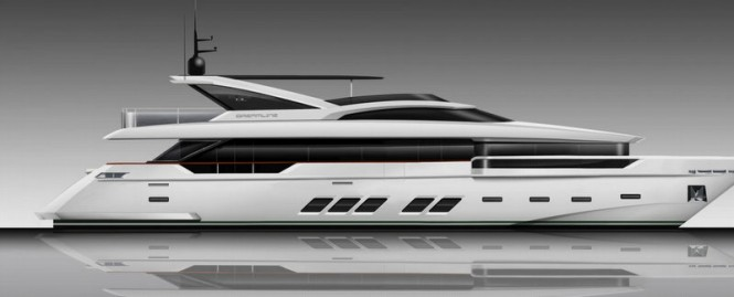 Rendering of 30M DREAMLINE superyacht to be launched this summer