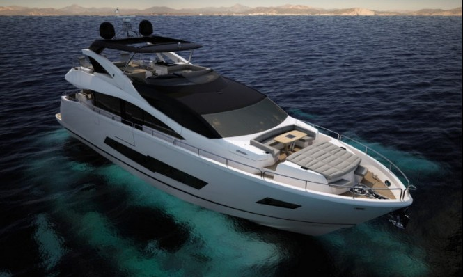 Rendering of the 'Sunseeker 86 Yacht' luxury yacht Hull no. 1
