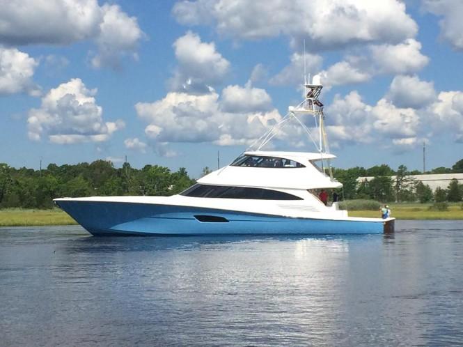 Superyacht Viking 92 Enclosed Bridge on her maiden voyage - Photo credit to Viking Yachts