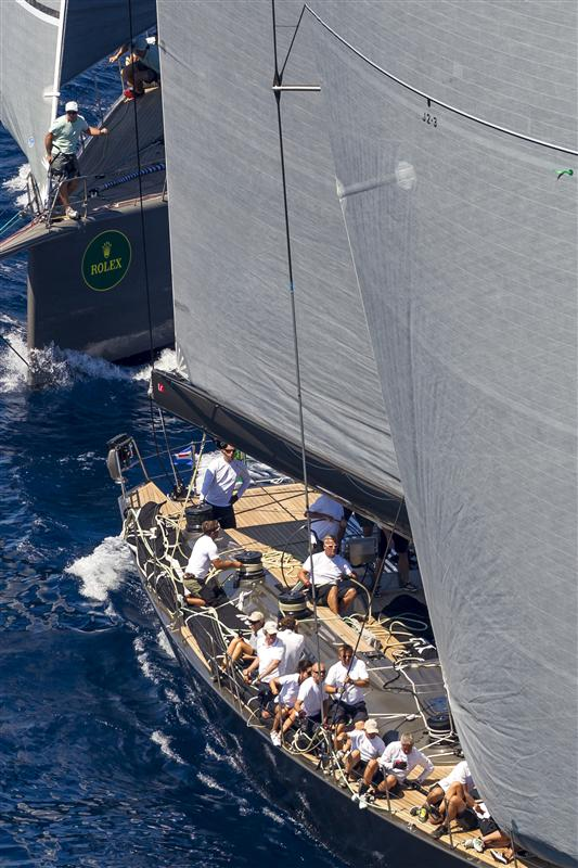 Superyachts Y3K and HAMILTON during the windward-leeward races in Porto Cervo - Photo by Rolex Carlo Borlenghi