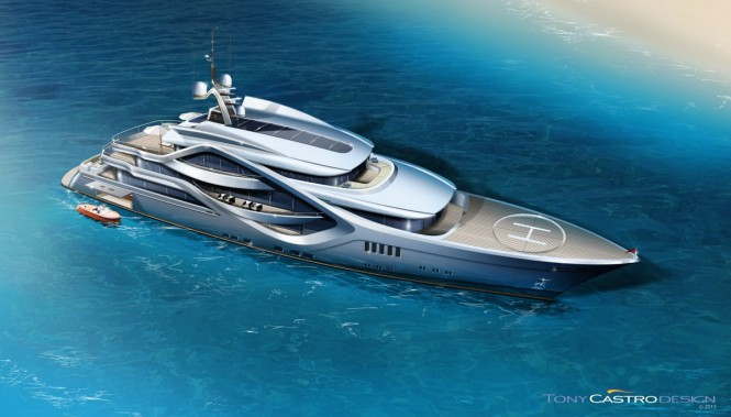 68m Tony Castro superyacht concept from above