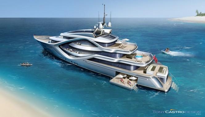 68m Tony Castro yacht concept - aft view