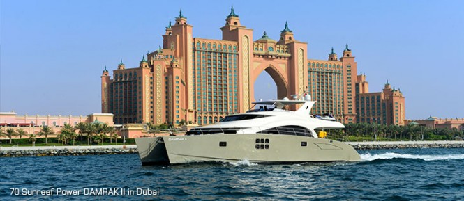 70 Sunreef Power charter yacht DAMRAK II in the fabulous Middle East yacht charter destination - Dubai