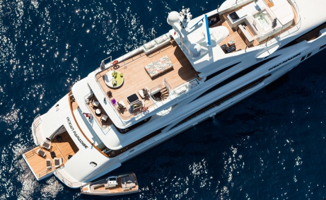 Aerial view of Ocean Paradise superyacht at anchor