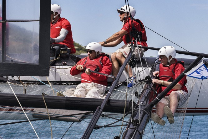 Bob Oatley at the helm of the AC45 - Photo credit Andrea Francolini