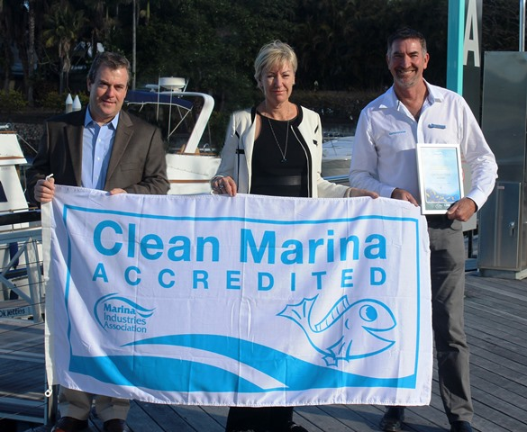 Caption L to R  Keith Allardice, Helen Motteram and John Hogan at Sanctuary Cove Marina