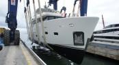 CdM explorer yacht YOLO at launch - a smaller sister ship to Nauta Air 90 Yacht NOGA