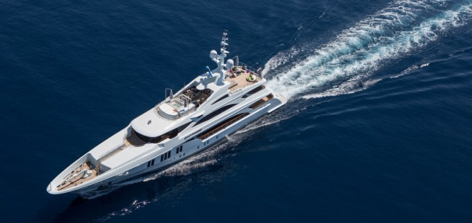 Luxury motor yacht Ocean Paradise from above