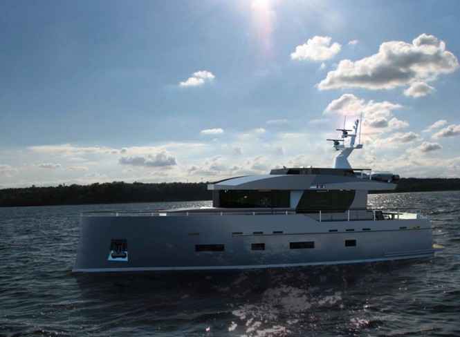 Luxury yacht Bering 70 - side view