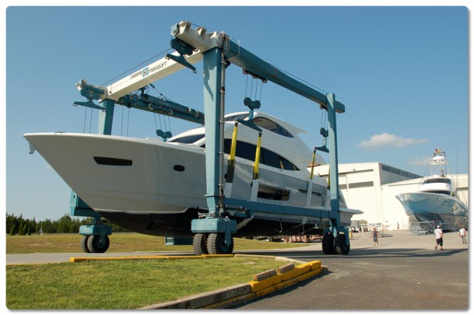 Luxury yacht Viking 75 left her building at Viking Yachts